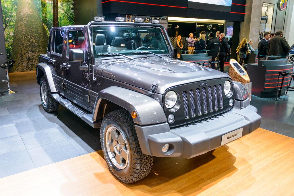 A Jeep Wrangler JK on display