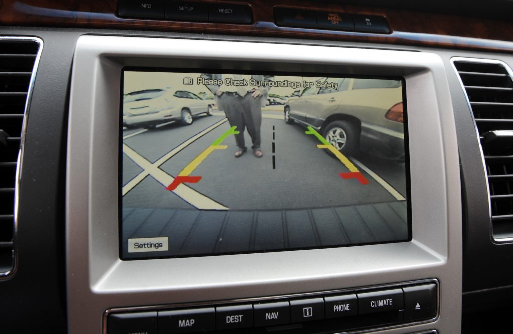 An image of a screen showing a backup camera.