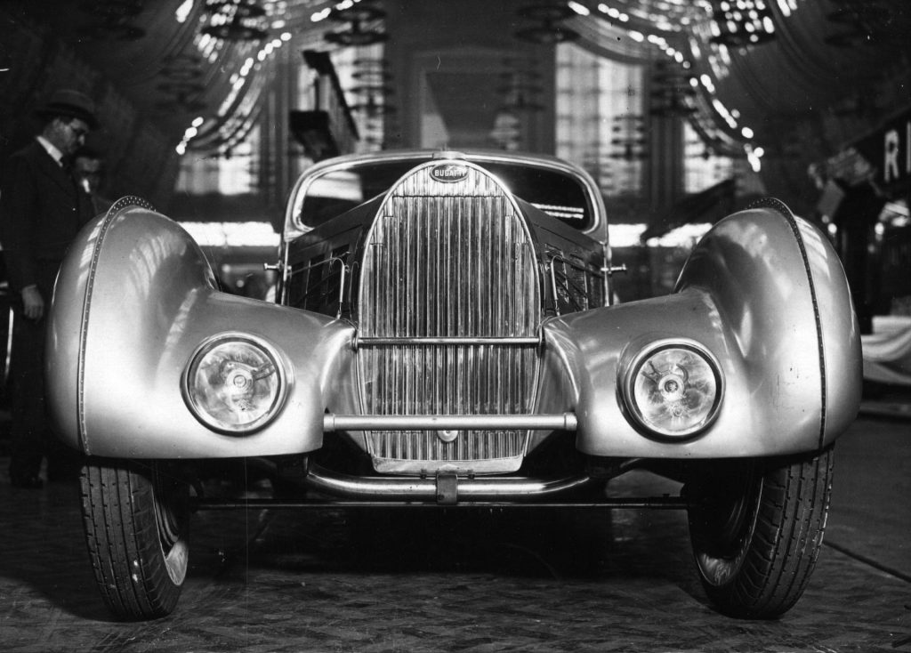 An image of a Bugatti Aerolithe back in the 1930s.