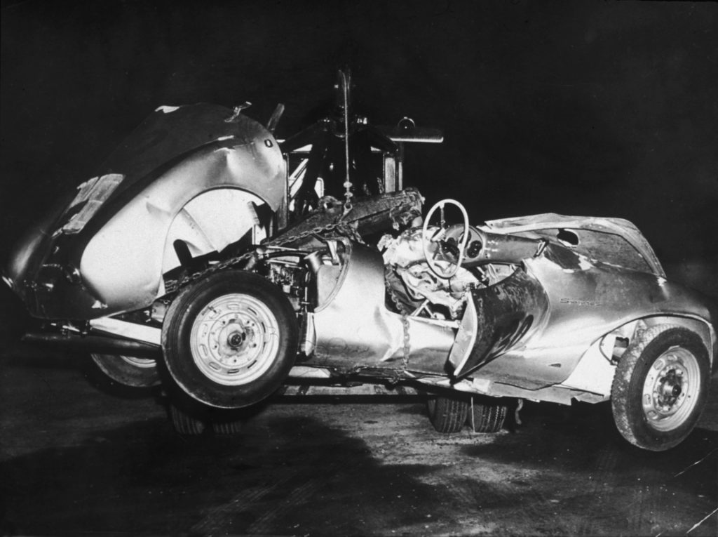 An image of a silver Porsche 550 Spyder owned by famous actor James Dean.