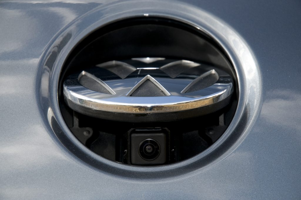 An image of a physical backup camera on a car.