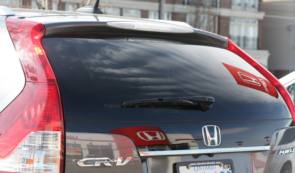 The back of a Honda CR-V seen at a dealership