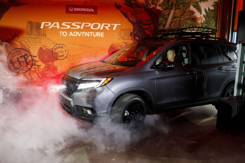 A Honda Motor Co. Passport sport utility vehicle (SUV) is unveiled during a reveal event in Los Angeles, California, U.S., on Tuesday, Nov. 27, 2018