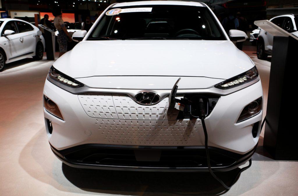 A Hyundai Kona displayed at an auto show