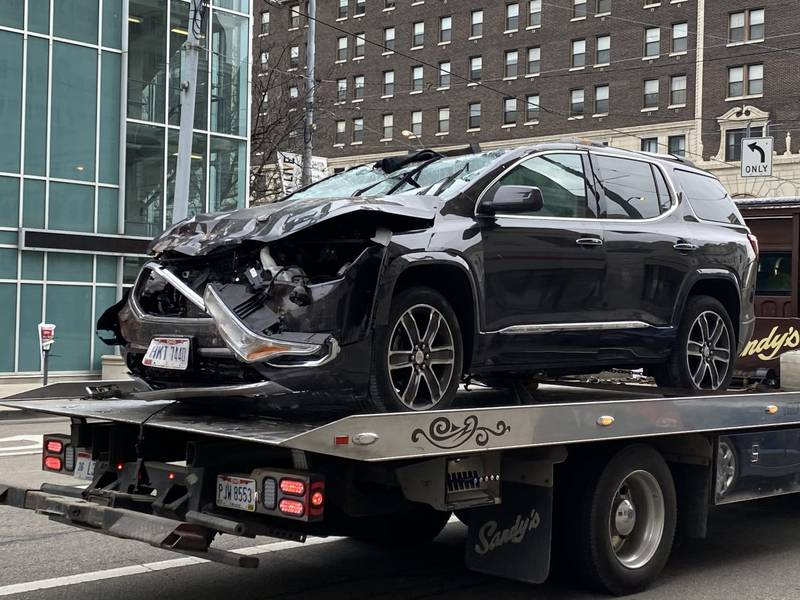 A Damaged GMC Terrain after falling for the second story