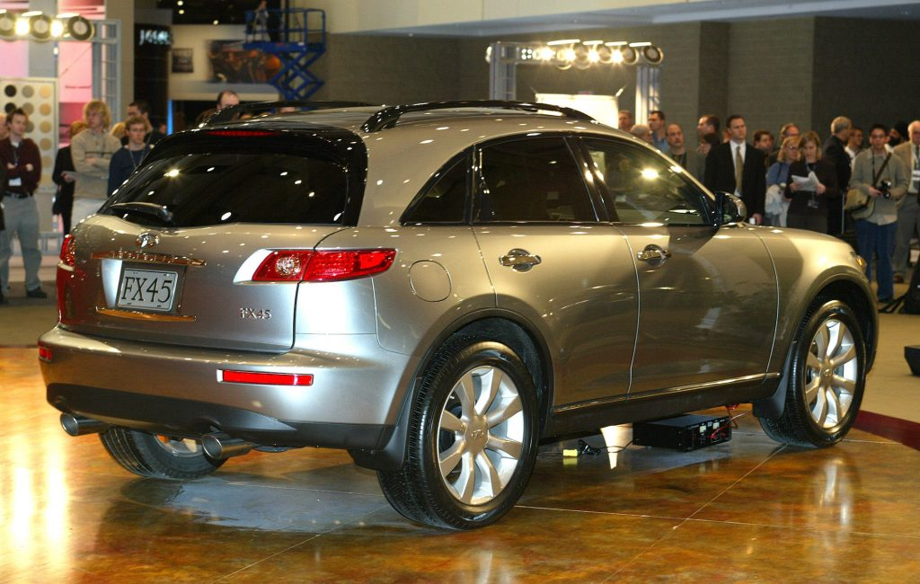 Infiniti FX45 in silver sitting at an autoshow