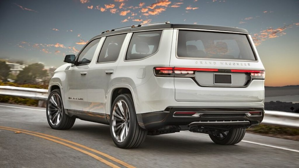 Jeep Grand Wagoneer Concept in white on a road