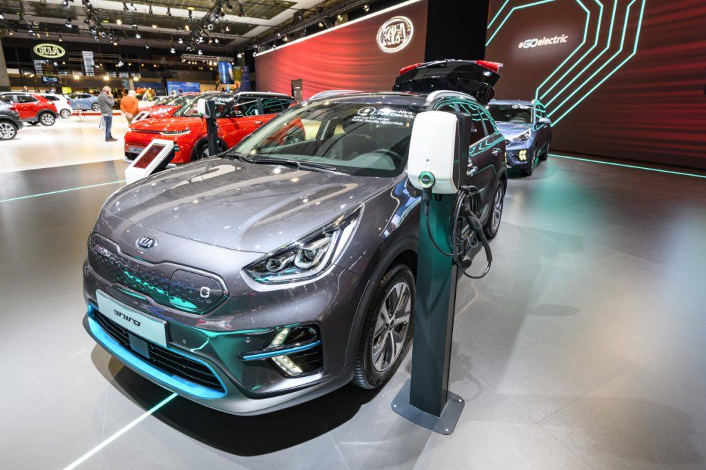 A Kia Niro on display at an auto show