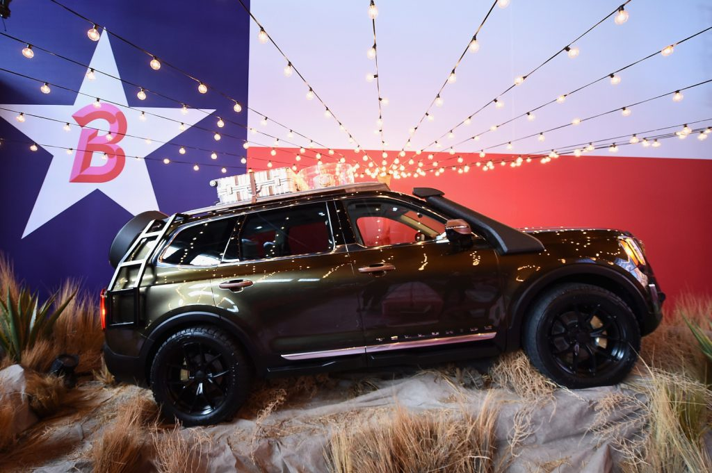 A Kia Telluride SUV on display