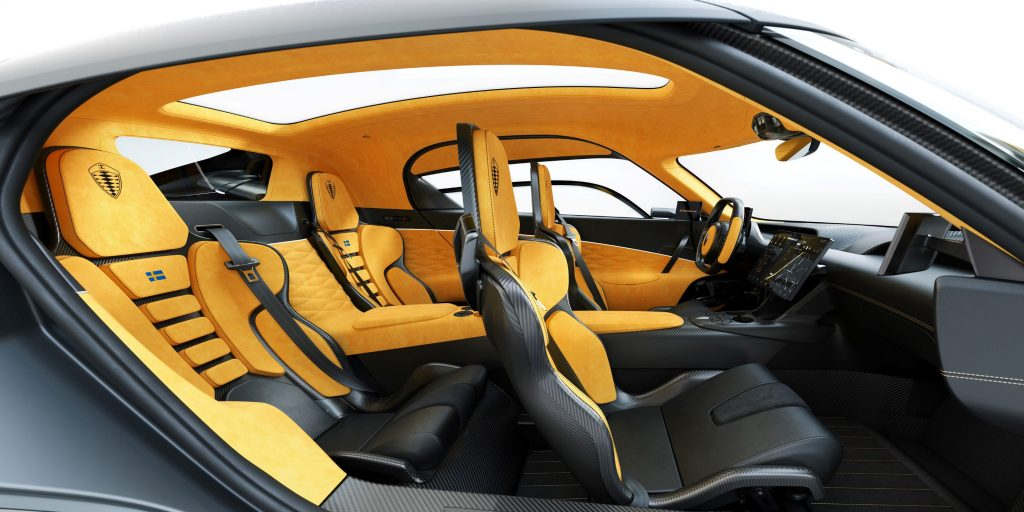 The yellow-leather-upholstered carbon-fiber interior of the Koenigsegg Gemera