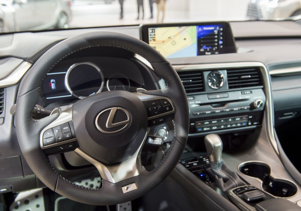 The interior of a Lexus RX luxury SUV