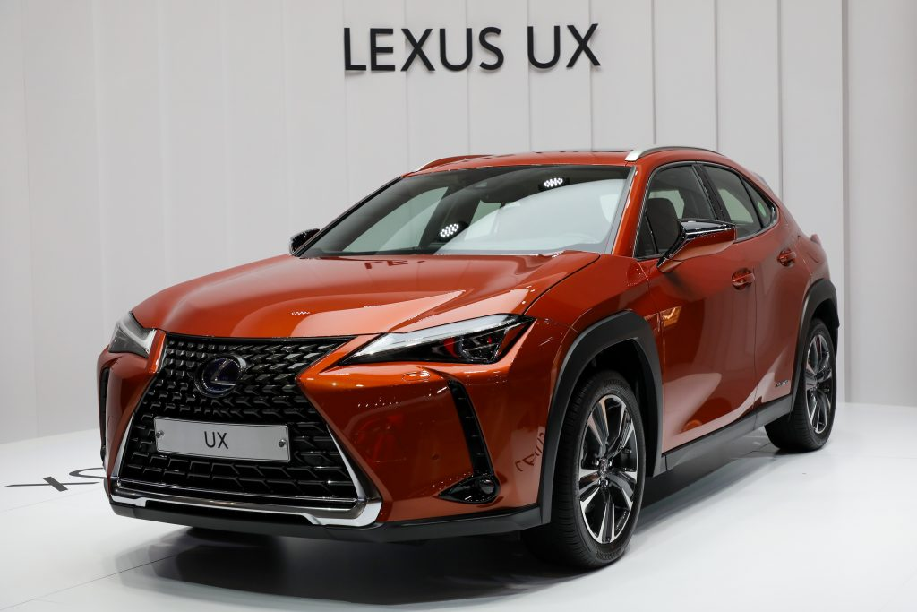 A Toyota Motor Corp. Lexus UX 250h Hybrid vehicle stands on display during the press day of the Seoul Motor Show
