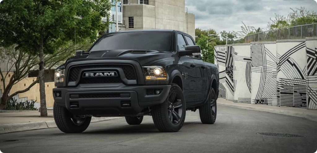 2021 Ram 1500 Classic Warlock in all black parked