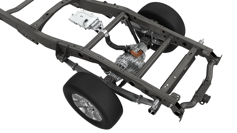 Magna eBeam EV axle in chassis
