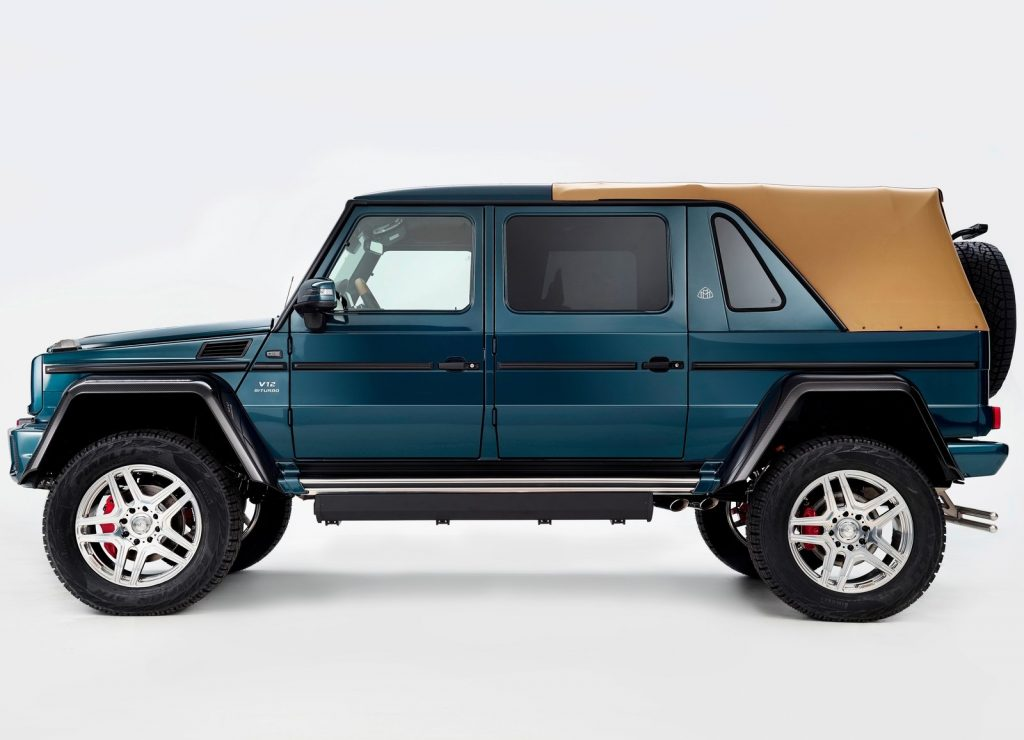 An image of a Mercedes-Maybach G650 Landaulet parked in a studio.