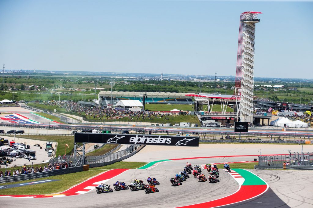 MotoGP racers in the 2019 US Grand Prix at the Circuit of the Americas track in Austin, Texas