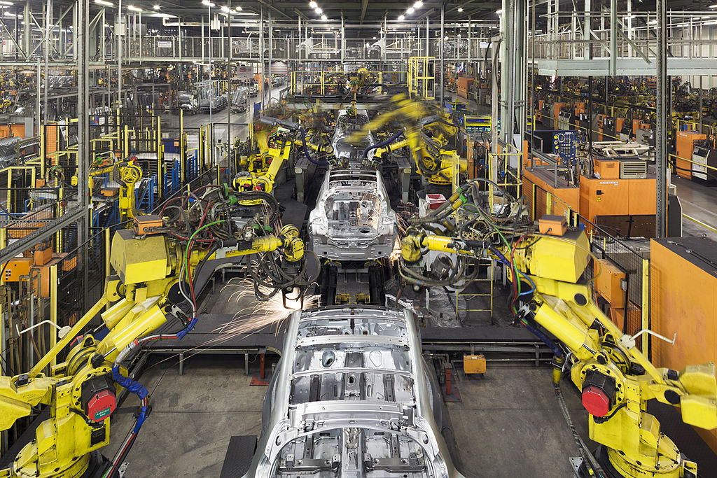 Nissan vehicles in the assembly line at a Nissan plant