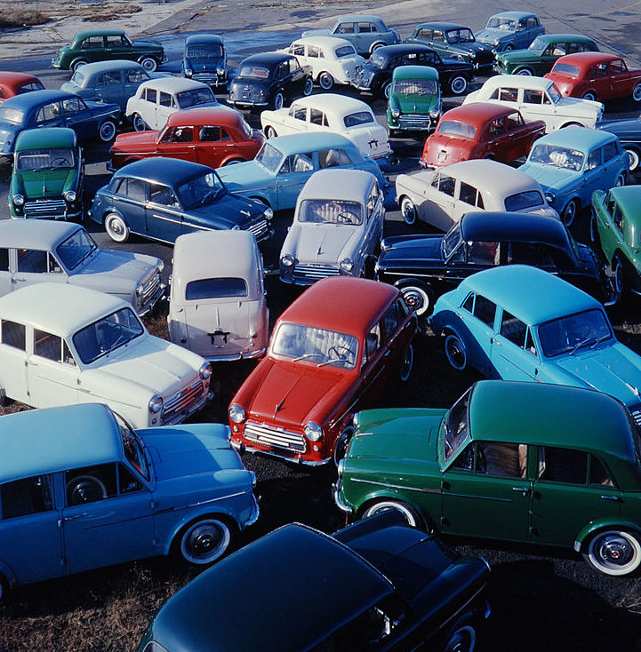 group of old Japanese cars