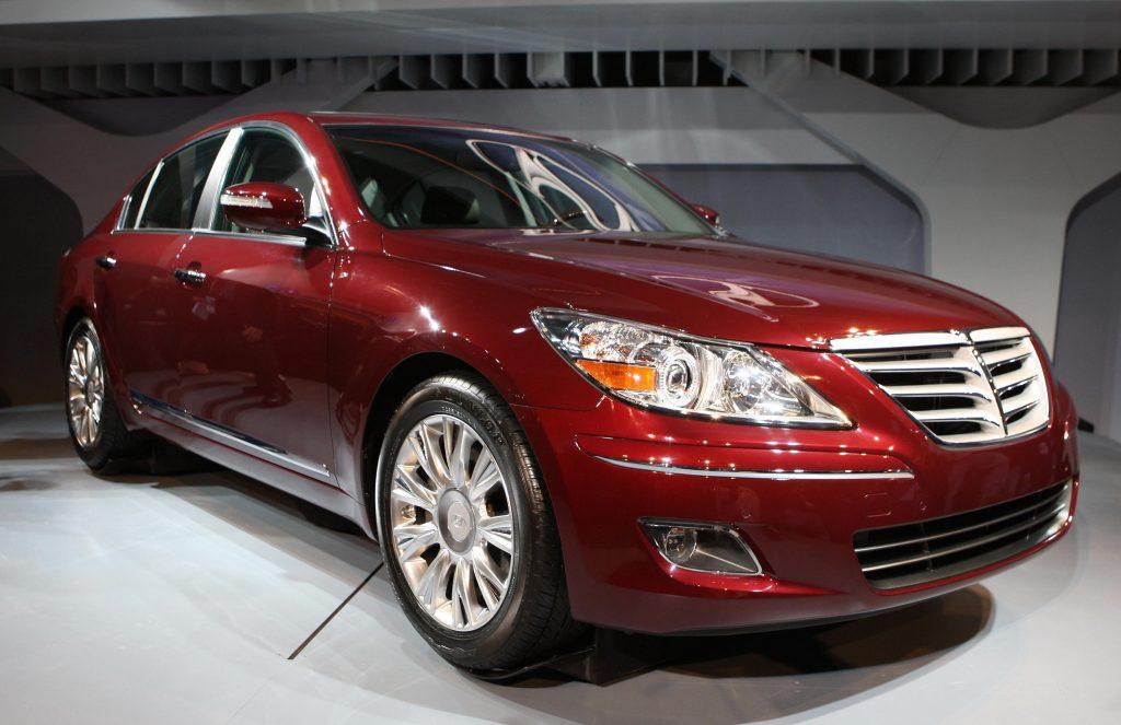 A red Hyundai Genesis on display