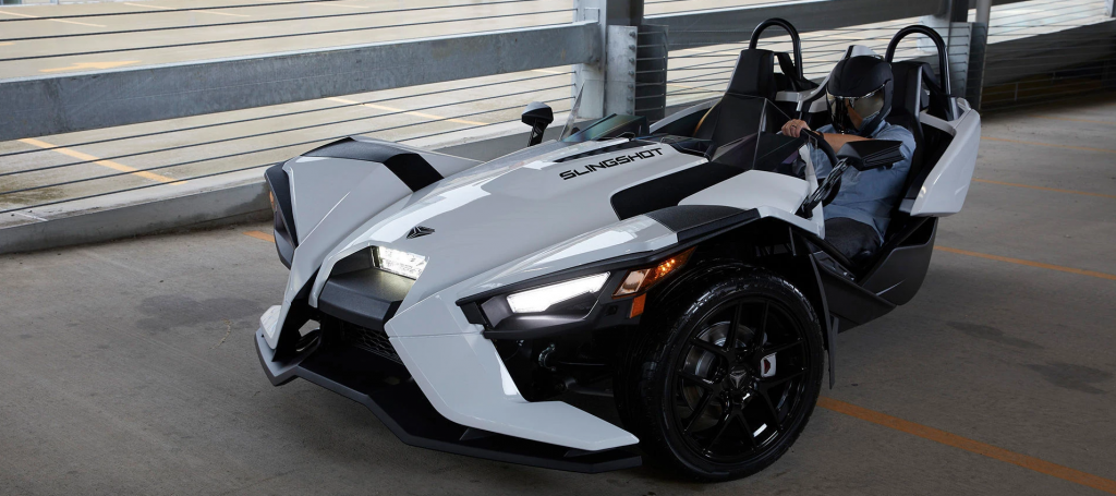 a front shot of the 2020 Polaris Slingshot in white