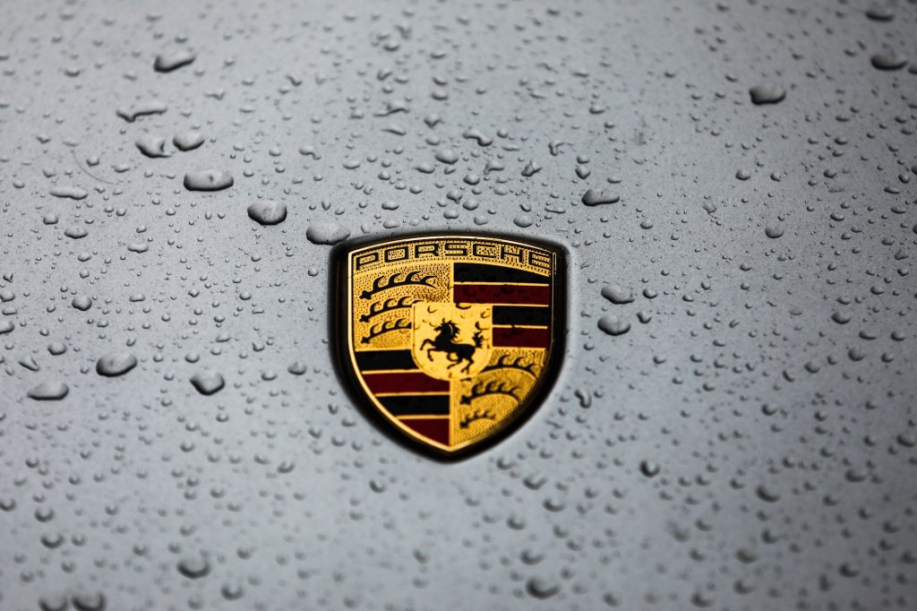 Raindrops on a Porsche logo on a car in Krakow, Poland, on January 5, 2020.