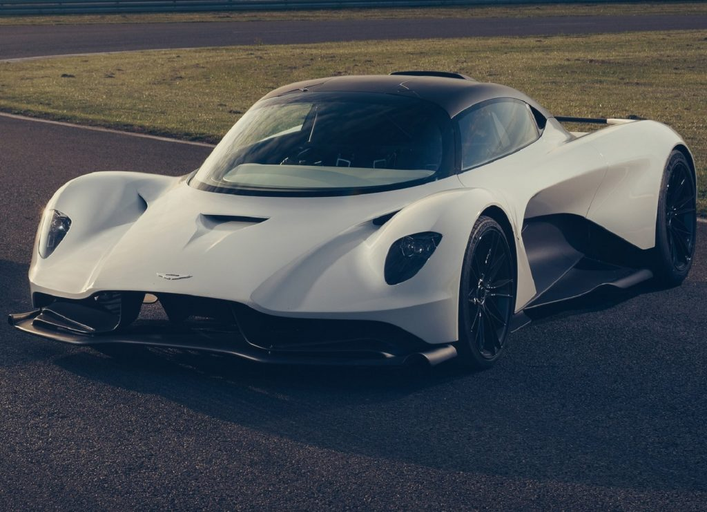 A white pre-production 2020 Aston Martin Valhalla parked on a racetrack