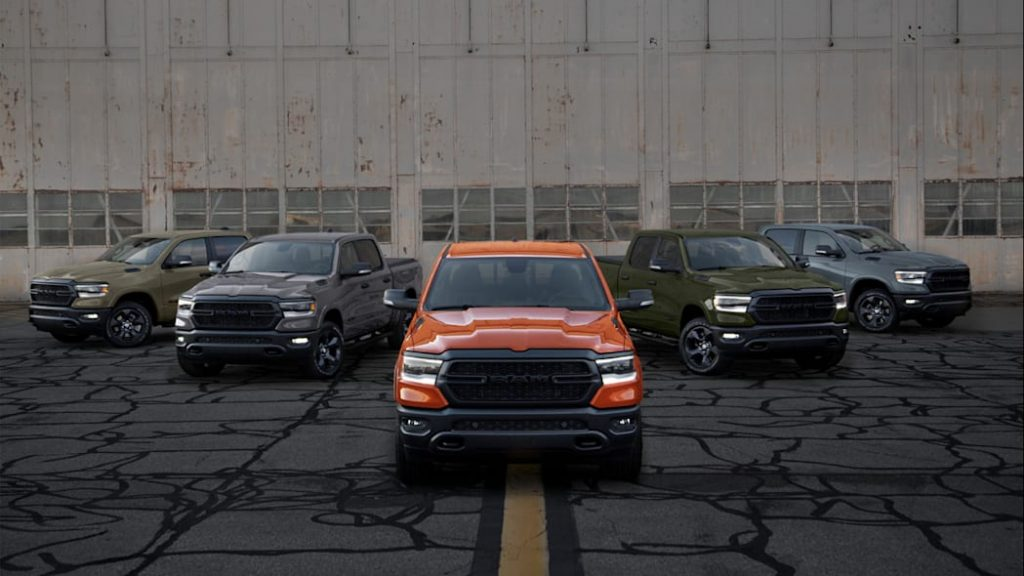 Five Ram 1500 Built to Serve Edition models parked near each other