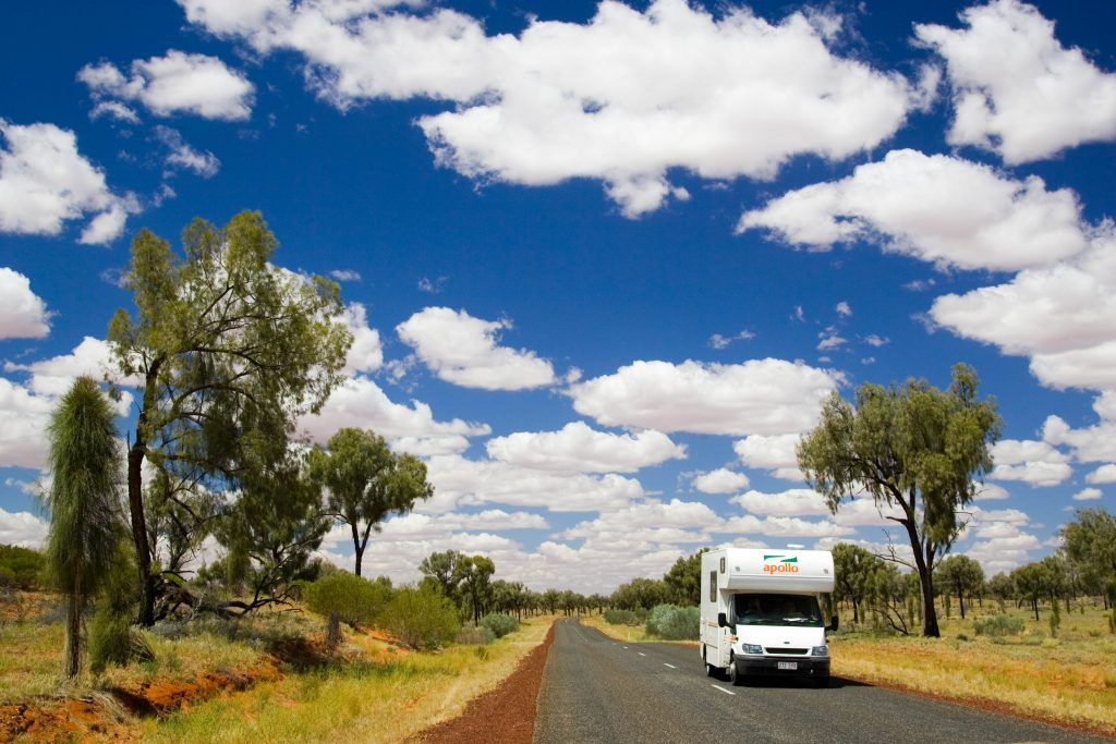 A white RV in the Australian countryside