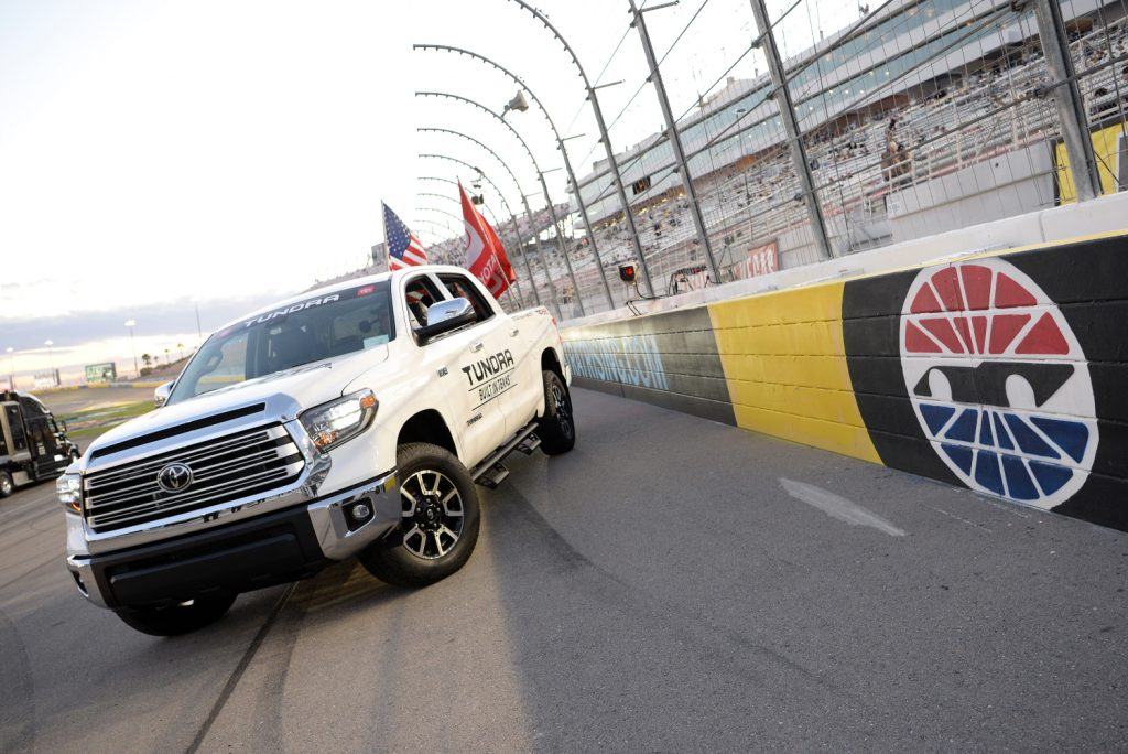 The reliable Toyota Tundra sits on the Nascar track
