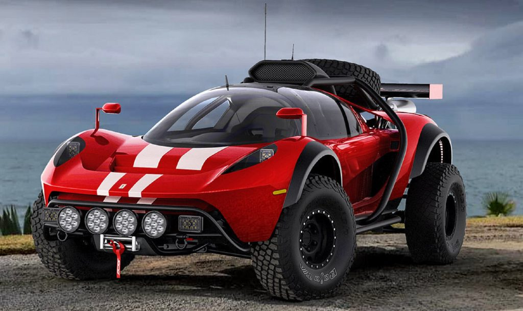 The initial render of the red-with-white-stripes SCG 008 kit car buggy