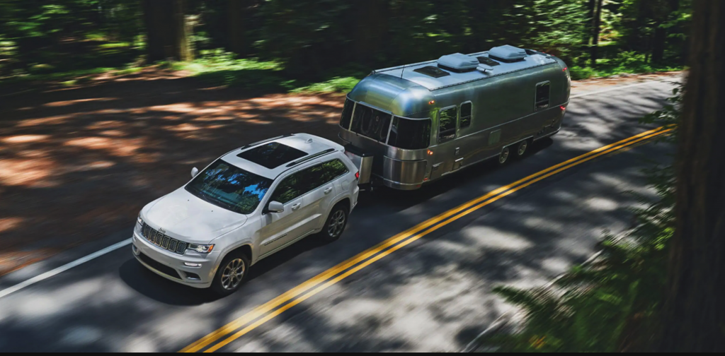 2021 Jeep Grand Cherokee towing an airstream trailer