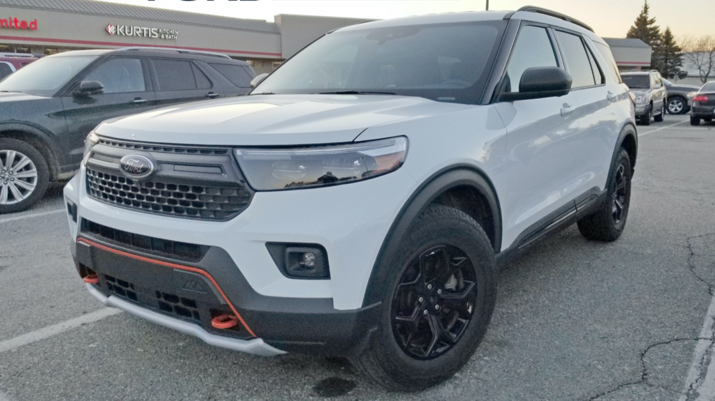 A spy shot of the 2022 Ford Explorer Timberline in a parking lot