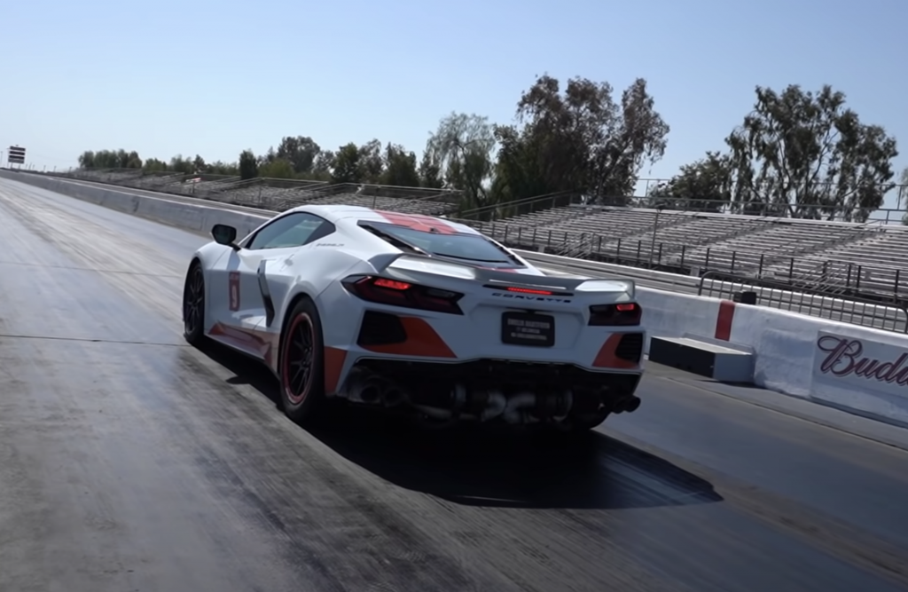 An image of a twin-turbo Chevrolet Corvette out on a racetrack.