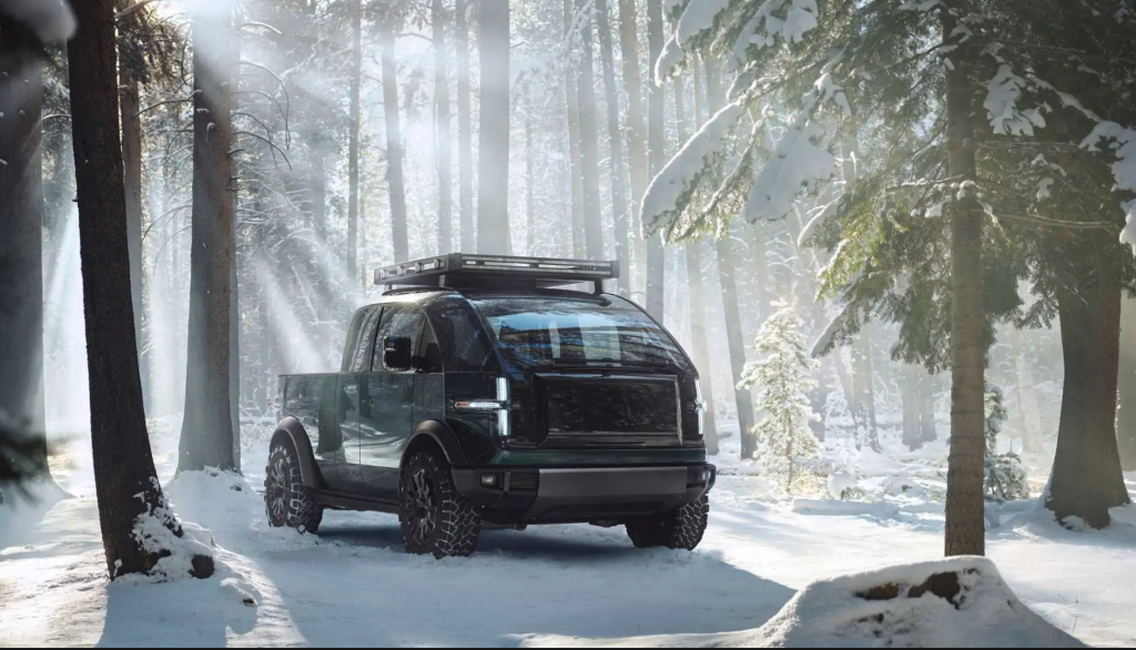 The Canoo pickup truck EV parked in snow