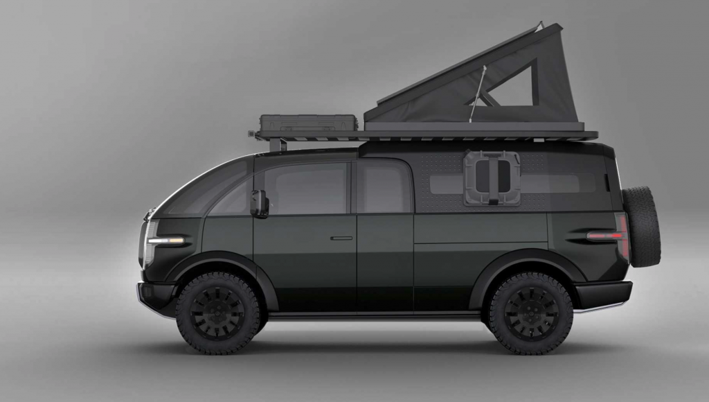 Eletric Canoo pickup truck with a shell and roof top tent