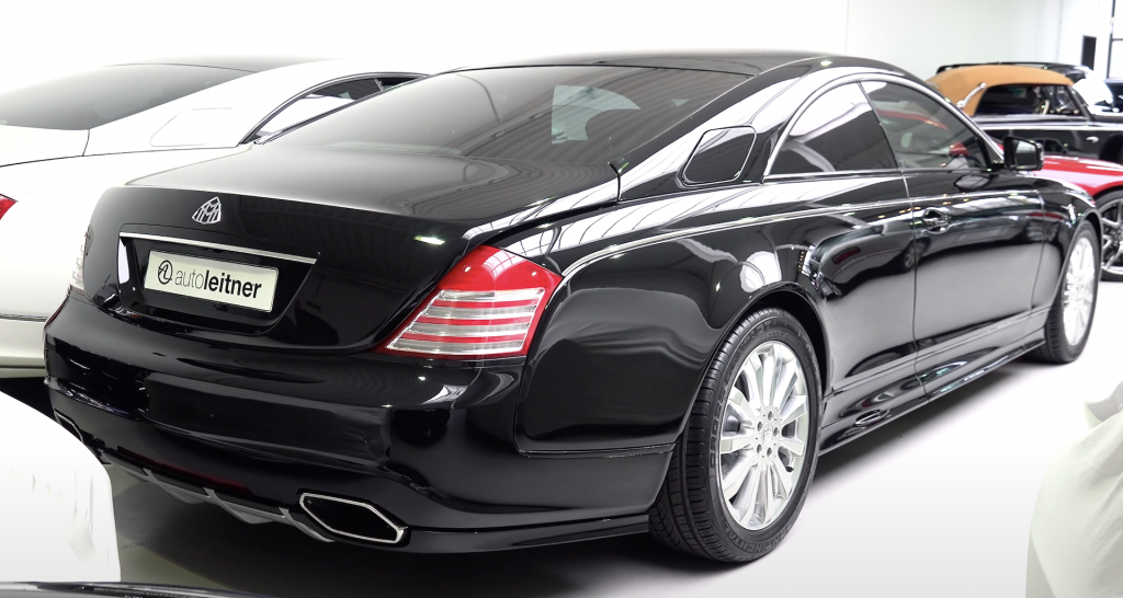 An image of a Maybach 57S Coupe parked inside of a showroom.