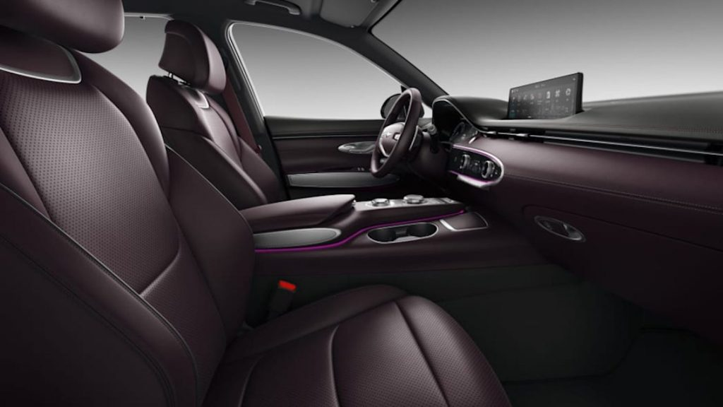 2022 Genesis GV70 interior in purple