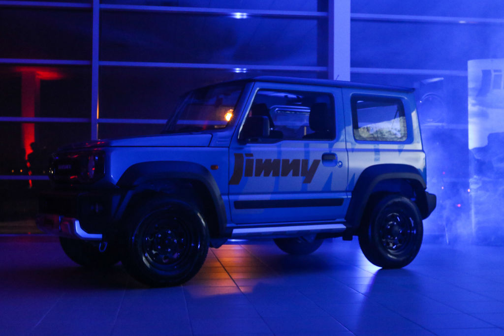 A purple Suzuki Jimny on display