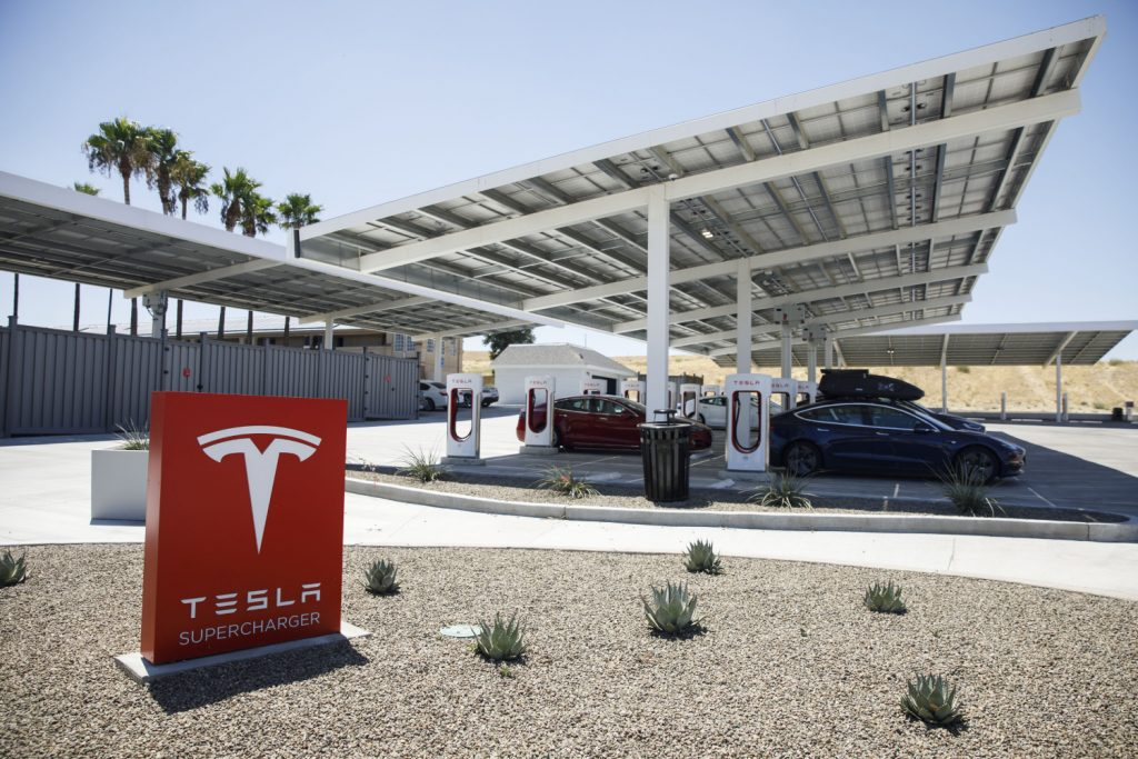 A Tesla supercharging station in California