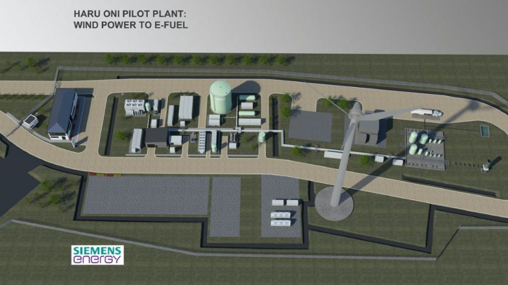 A render of the planned The Porsche 'Haru Oni' synthetic fuel pilot plant in Chile