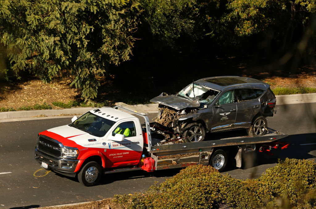 Tiger Woods accident vehicle towed away on flatbed truck
