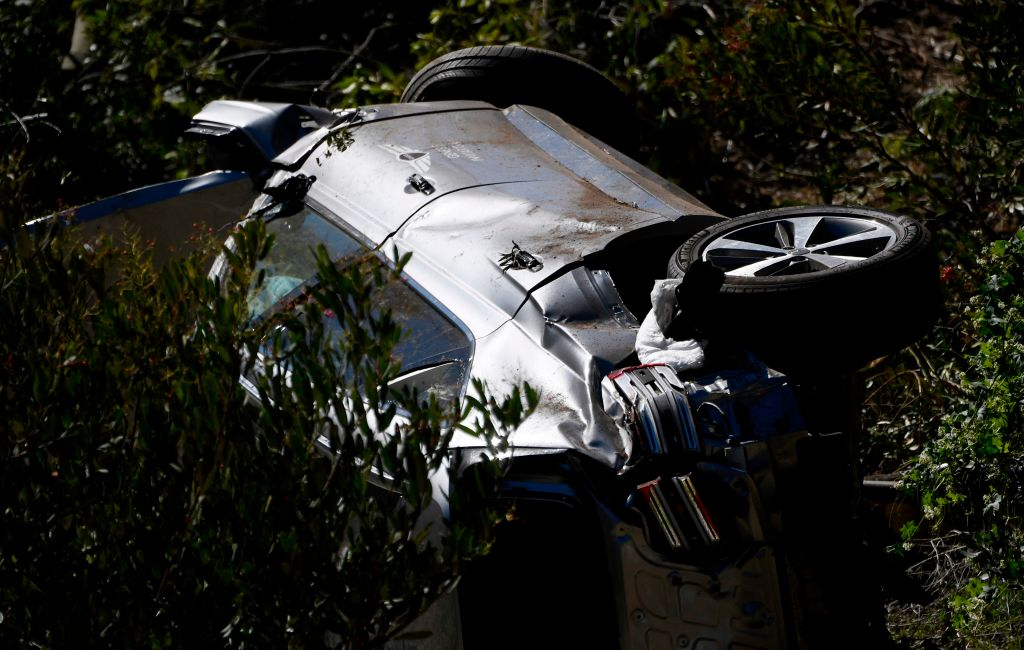 close up of Tiger Woods car accident