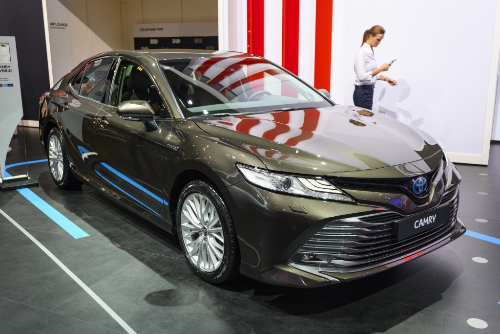 Toyota Camry hybrid sedan car on display at Brussels Expo