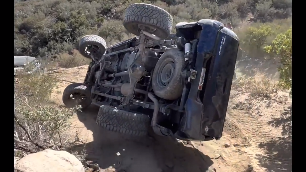 Toyota Tacoma rolled on off-road trail