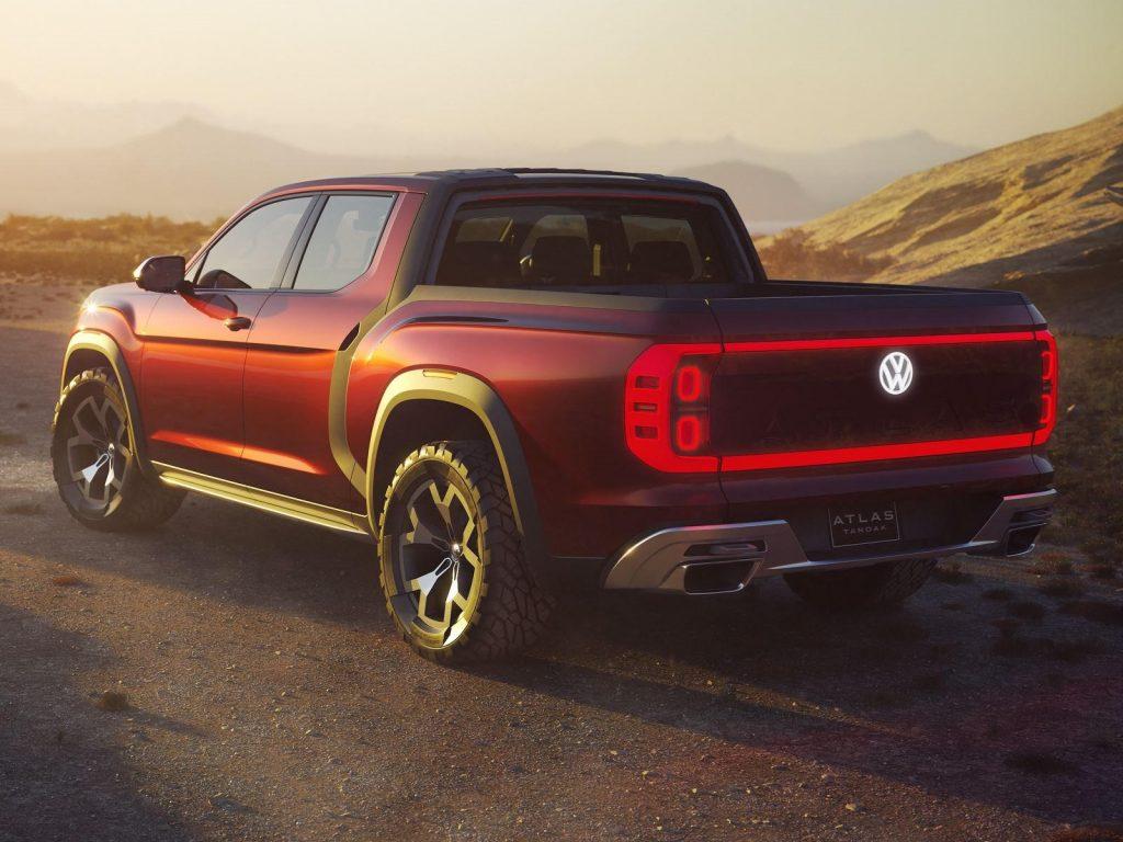 VW Atlas Tanoak pickup concept rear 3/4 view