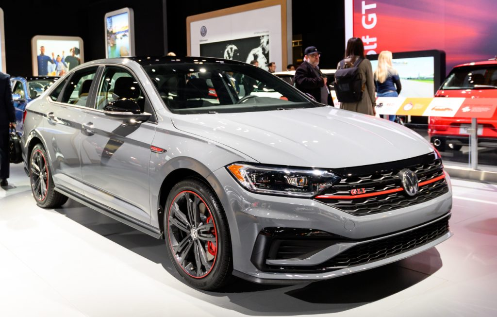 A Volkswagen Jetta on display at an auto show show show this mainstream brand brings some luxury into the equation