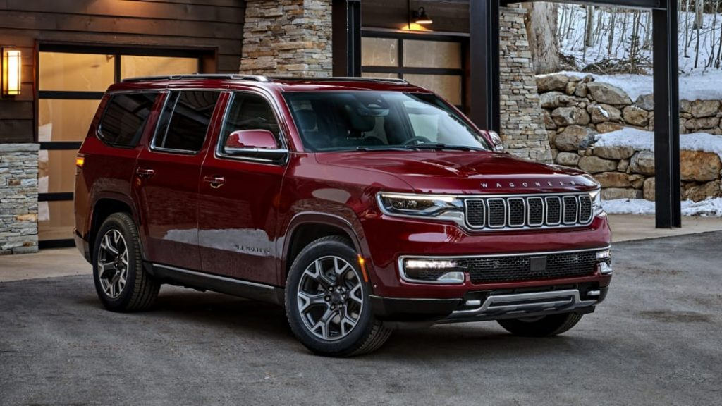 The 2022 Jeep Wagoneer parking in front of home