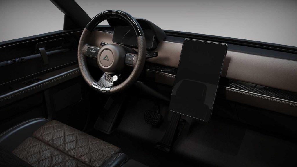 Alpha Wolf EV Pickup Truck black interior
