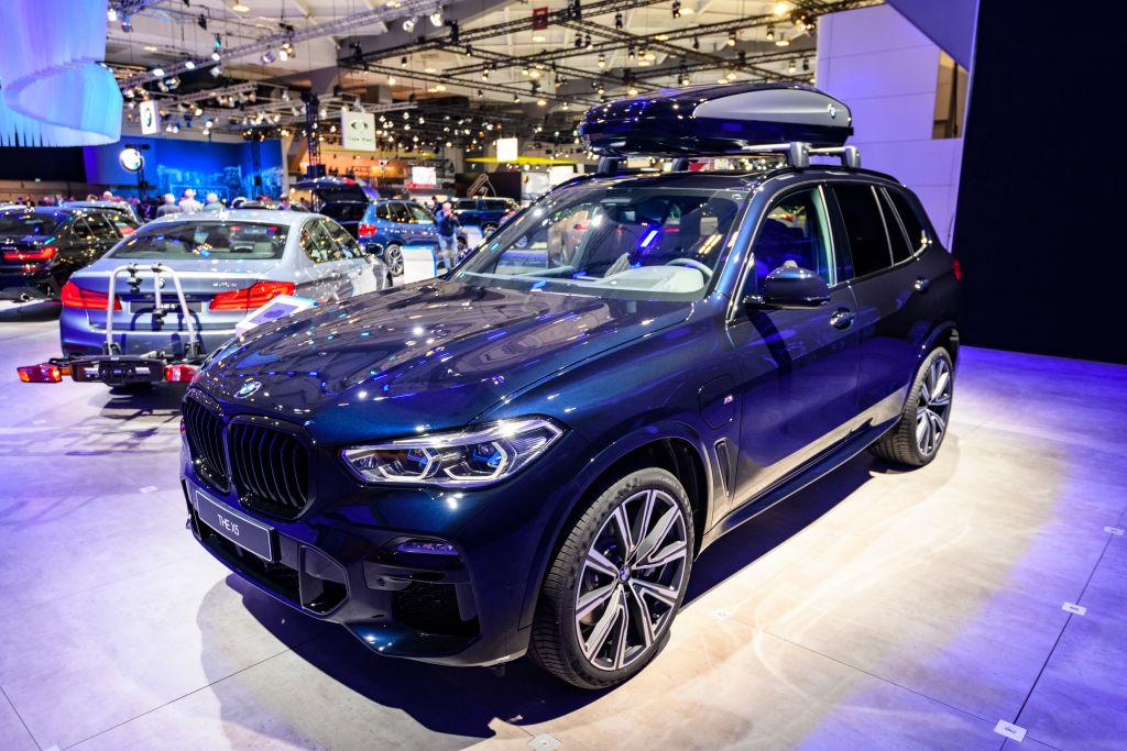 A dark blue 2021 BMW X5 SUV on display