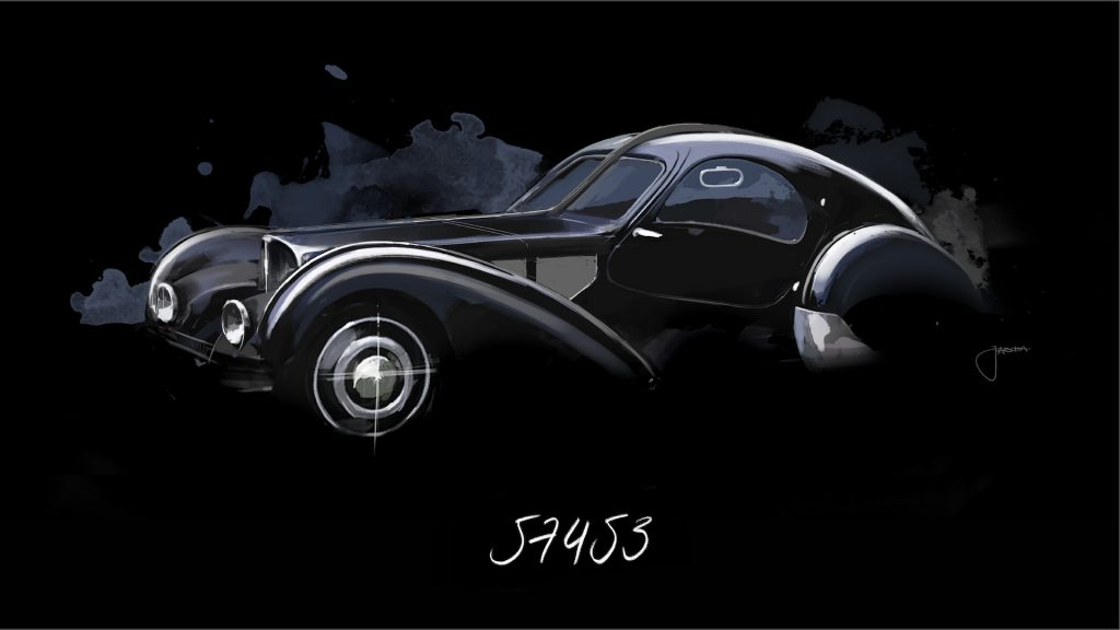 A digital image of a Bugatti Type 57 SC.